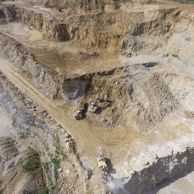 """""""Mining quarry with special equipment, open pit excavation. Sand mine. View..."""" stock image"""
