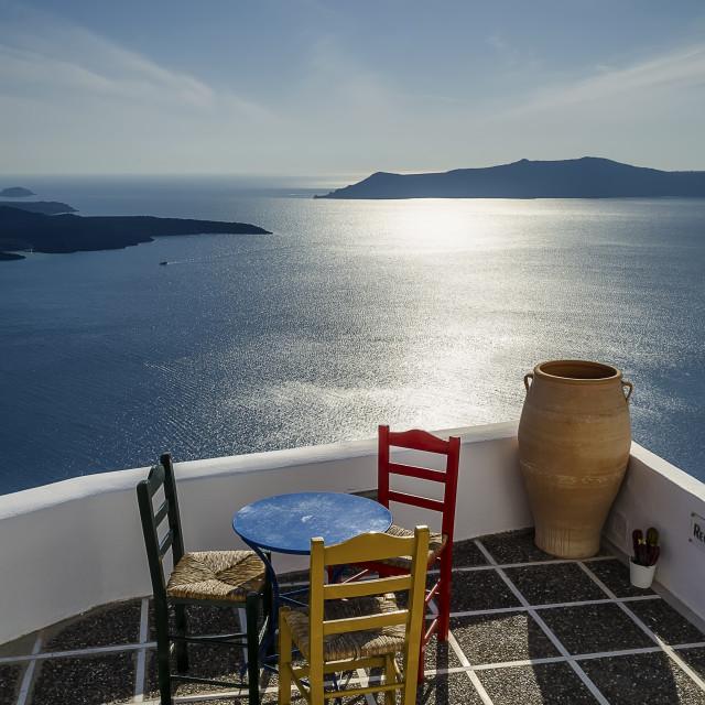 """Balcony in Imerovigli Santorini"" stock image"