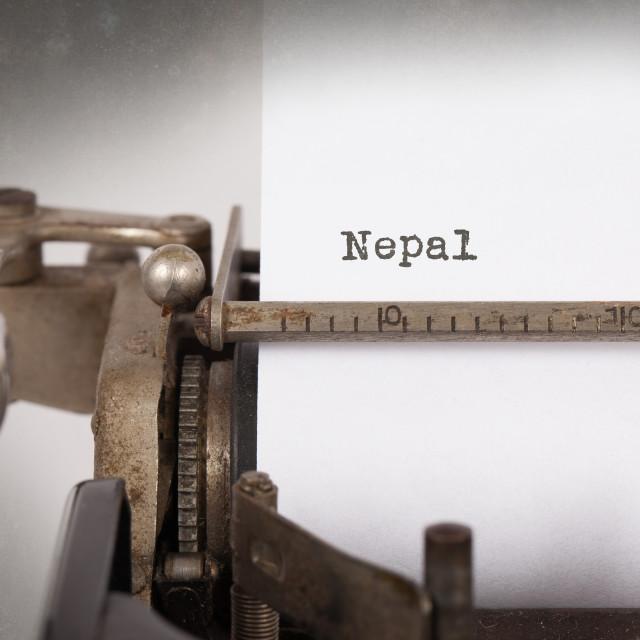 """""""Old typewriter - Nepal"""" stock image"""