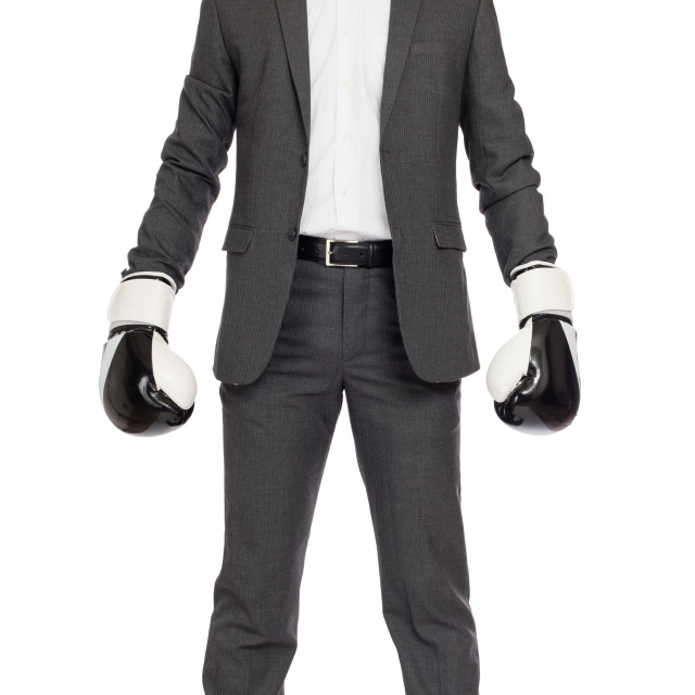 """""""Businessman in boxing gloves"""" stock image"""