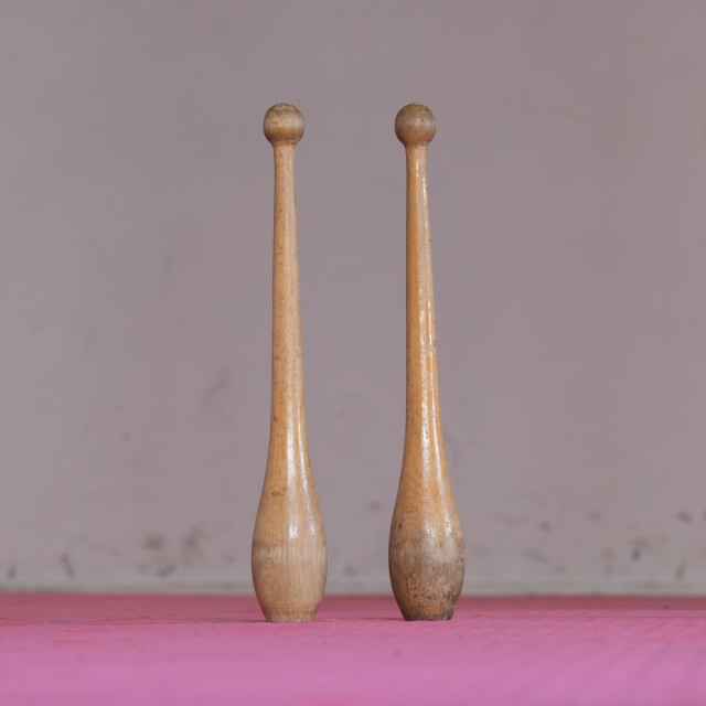"""""""Wooden pins in a gym"""" stock image"""