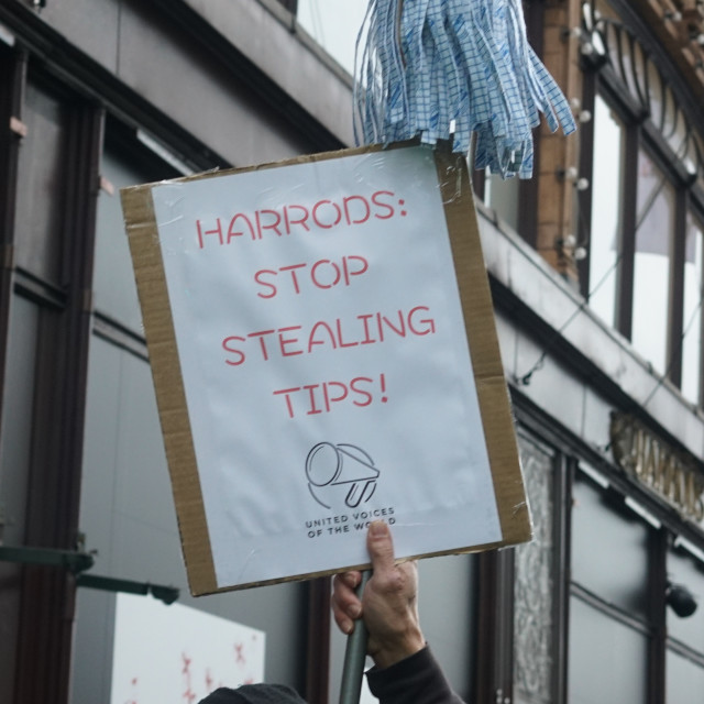 """Harrods workers protest chaos,London,UK"" stock image"