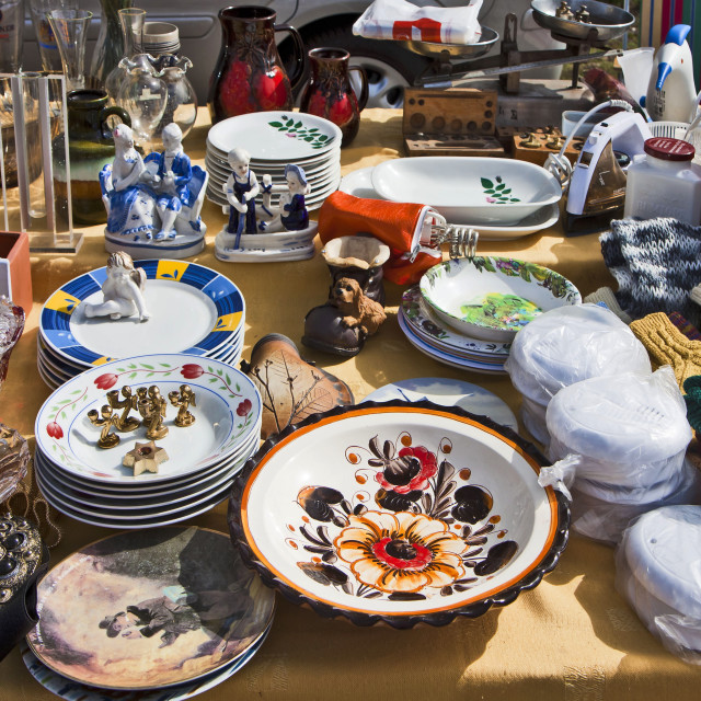 """Eching, Germany - merchandise on display at flea market stall"" stock image"