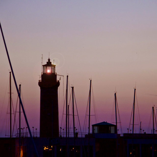 """""""Light house and harbor at twIlight"""" stock image"""