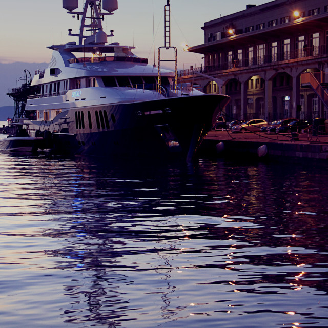 """""""Yacht moored at Maritime Station in Trieste, Italy at sunset"""" stock image"""