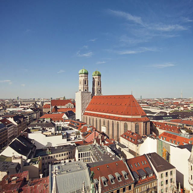 """""""Aerial view of Munich with the Frauenkirche and the two clocktowers"""" stock image"""