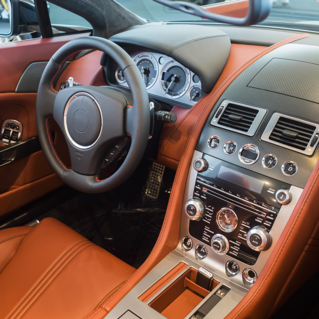 """""""Sports car leather interior"""" stock image"""