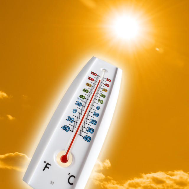 """""""thermometer in the sky, the heat"""" stock image"""