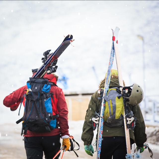 """""""Snow Skiers"""" stock image"""