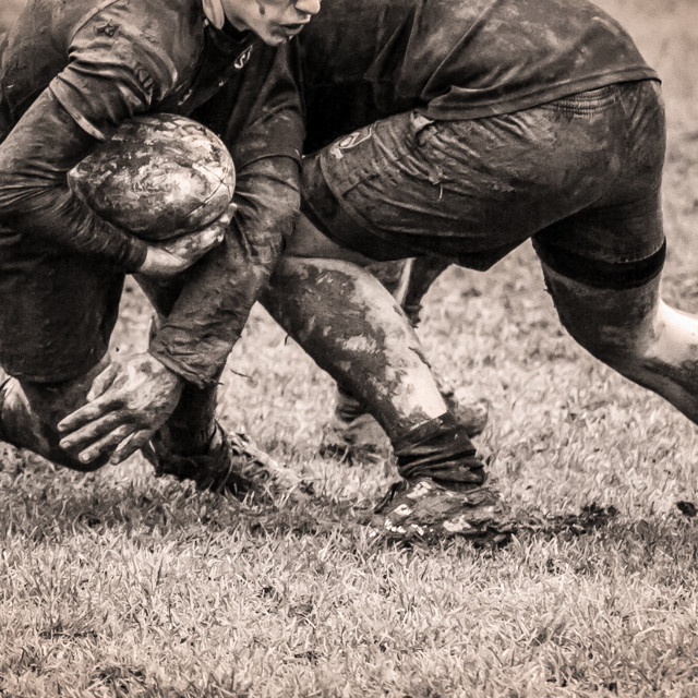 """Muddy Rugby Tackle"" stock image"