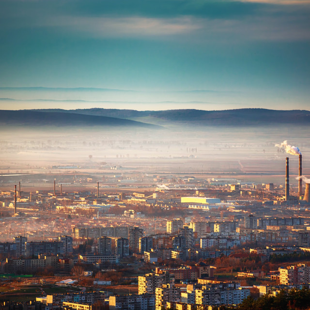 """""""Sunrise view on the city from above"""" stock image"""