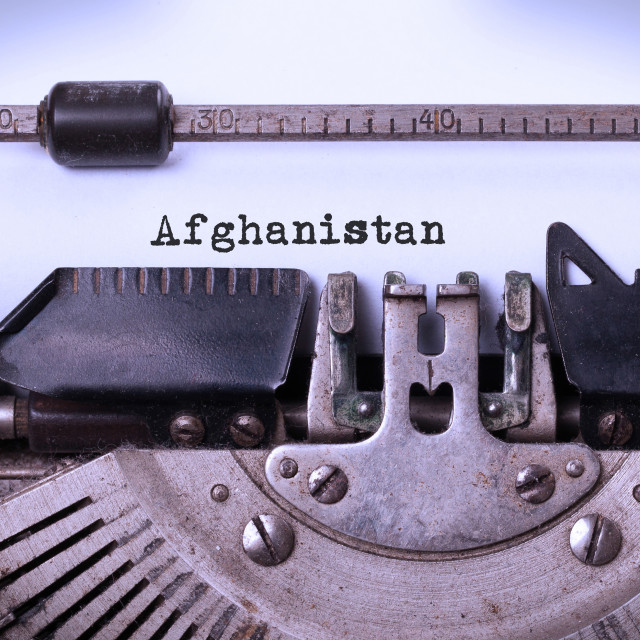 """Old typewriter - Afghanistan"" stock image"