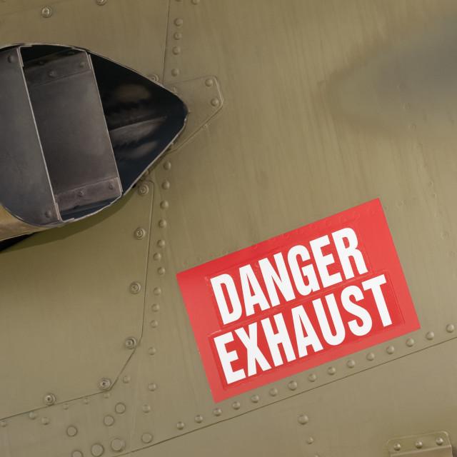 """""""danger exhaust sign"""" stock image"""
