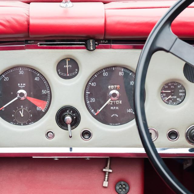 """vintage auto dashboard"" stock image"