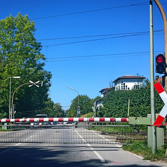 """""""Railroad crossing closed with red light"""" stock image"""