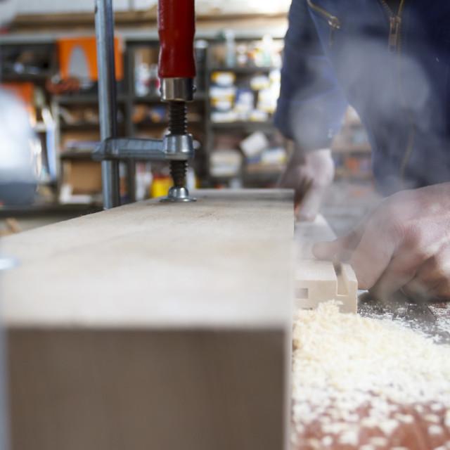 """""""Carpenter at work"""" stock image"""