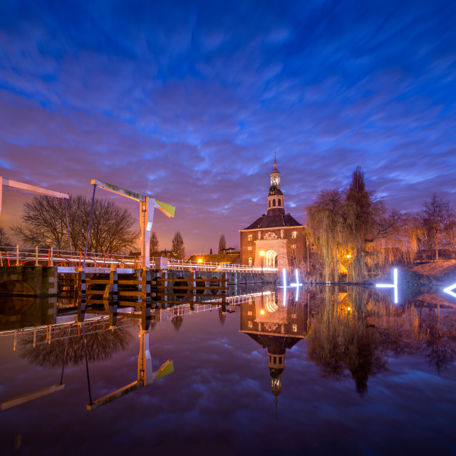"""Leiden, Zijlpoort by Night"" stock image"