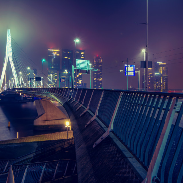 """Rotterdam Erasmusbridge by Night"" stock image"