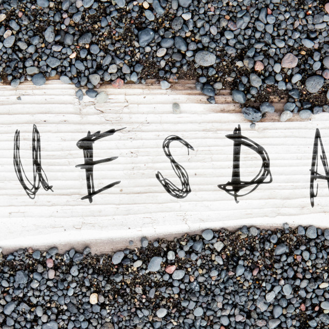 """""""Sand on planked wood - Tuesday"""" stock image"""