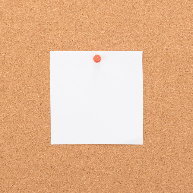 """""""Vintage cork board with note paper"""" stock image"""