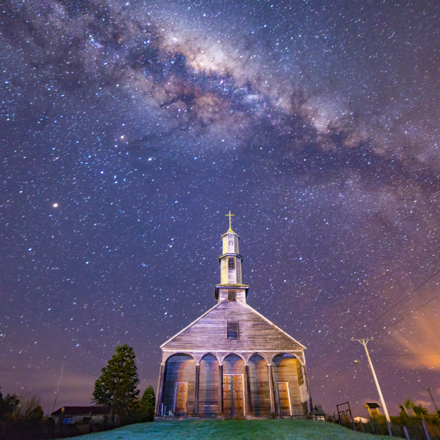 """Church under the stars."" stock image"