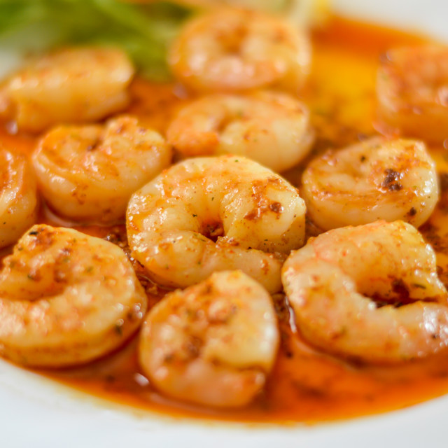 """Shrimp in spicy sauce"" stock image"