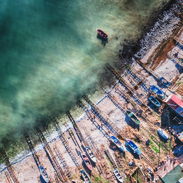 """""""Aerial view of small rustic motor boat"""" stock image"""