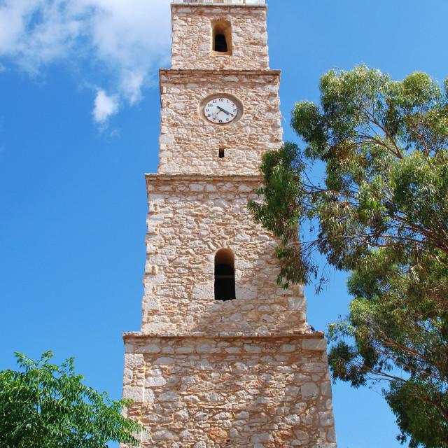 """Clock tower, Halki island"" stock image"