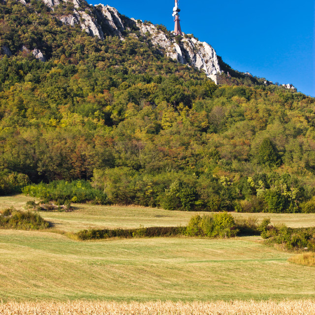 """""""TV tower above beautiful cliffs, forrest & fields"""" stock image"""