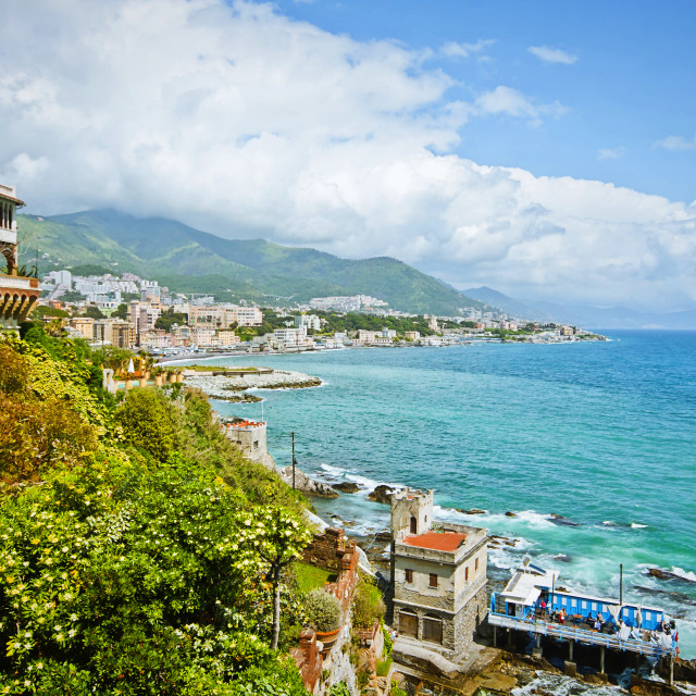 """Genoa, Italy - panoramic view of city coastline on the Tigullio gulf"" stock image"