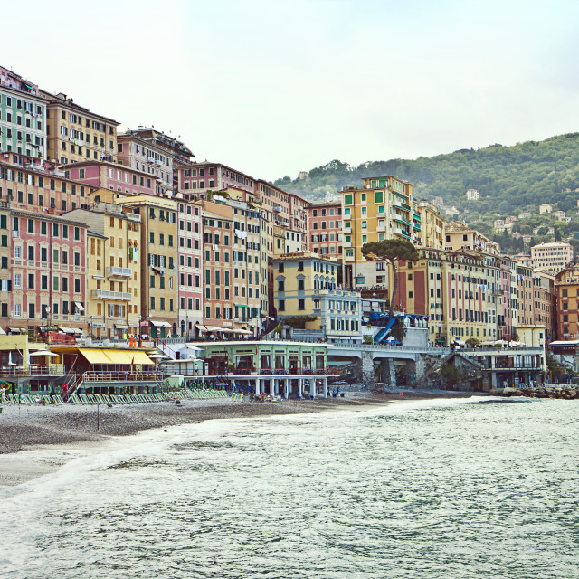 """Camogli, cityscape and strand early morning view"" stock image"