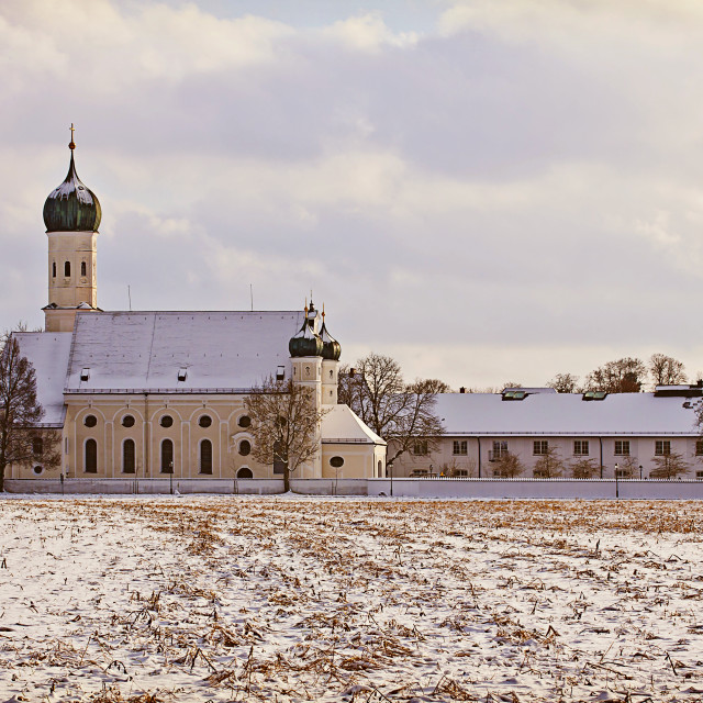 """Winter Bavarian landscape, church at sunset"" stock image"