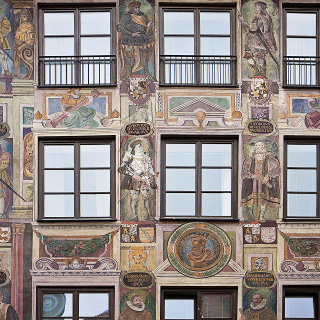 """Baroque house facade decorated in forced perspective with frescoes in..."" stock image"