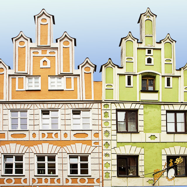 """Renaissance facade houses in Landshut, Germany painted in bright colors"" stock image"