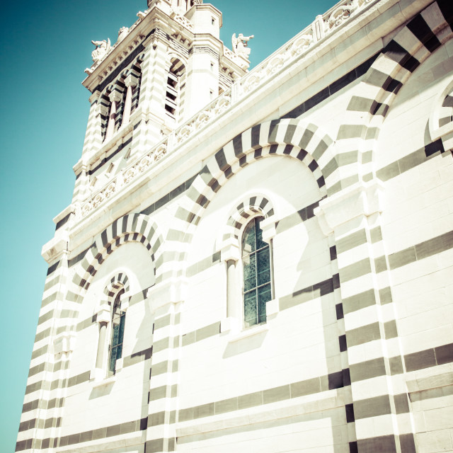 """""""Notre-Dame de la Garde (literally Our Lady of the Guard), is a basilica in..."""" stock image"""