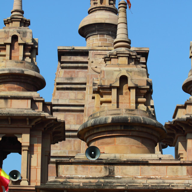 """Beautiful towers of modern Mulagandhakuti Vihara temple, sarnath"" stock image"