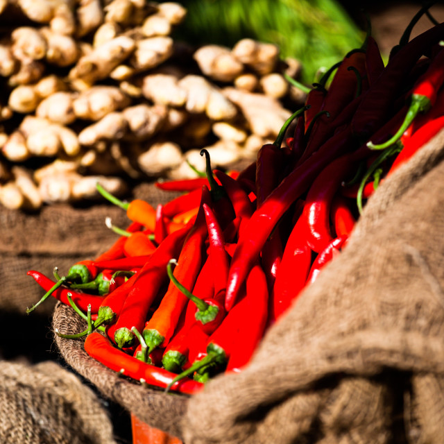 """Red paprica in traditional vegetable market in India."" stock image"