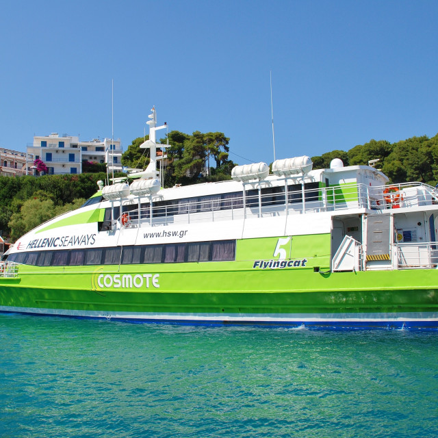 """Catamaran ferry, Alonissos"" stock image"