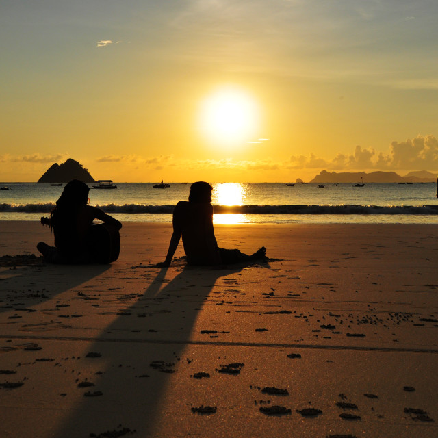"""""""Silhoute at Beach"""" stock image"""