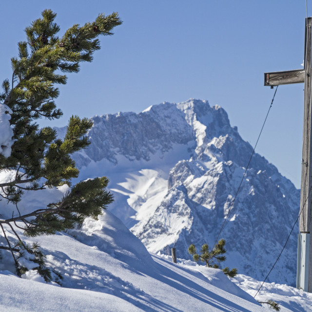 """summit cross and mountain Zugspitze"" stock image"