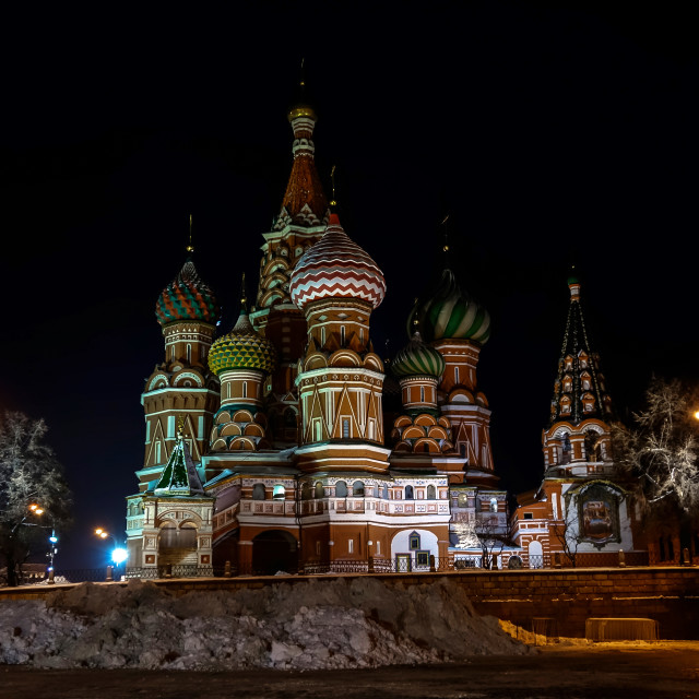 """Night view of St. Basil's Cathedral in winter"" stock image"