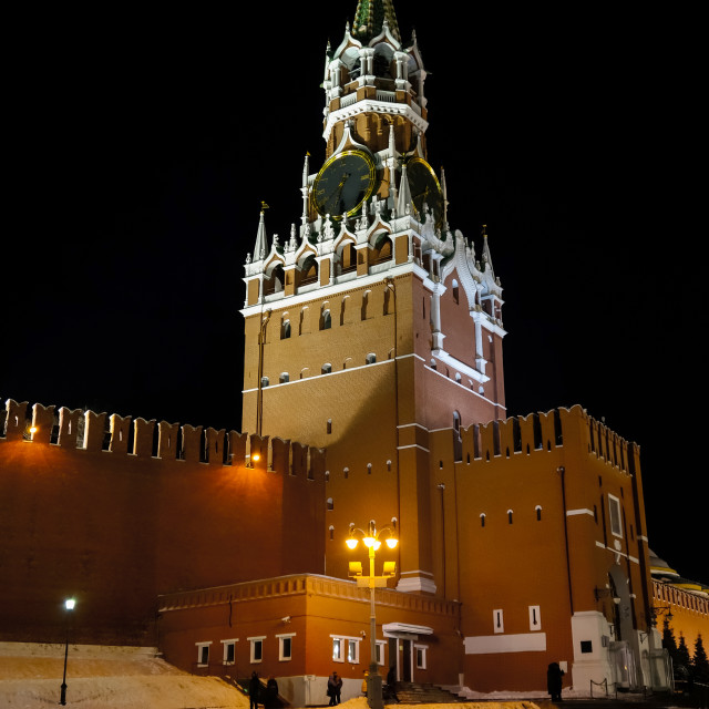 """""""Night view of the Spassky tower of Moscow Kremlin in winter"""" stock image"""