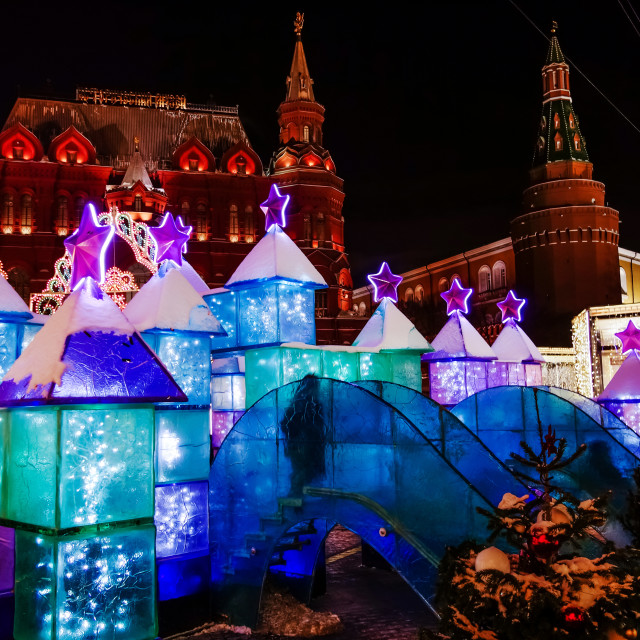 """""""MOSCOW, RUSSIA - January, 2017: Ice town on the Manege square in Moscow has always attracted a lot of tourists during the new year holidays on 8 january 2017"""" stock image"""