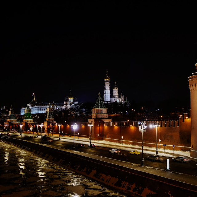 """""""Night view of Moscow Kremlin in winter"""" stock image"""