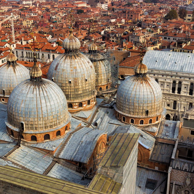 """View from above of the domes of St. Mark's church in Venice"" stock image"
