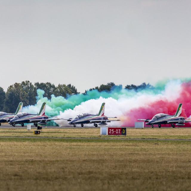 """""""RADOM, POLAND - AUGUST 23: Aerobatic group formation """"Frecce Tricolori""""..."""" stock image"""
