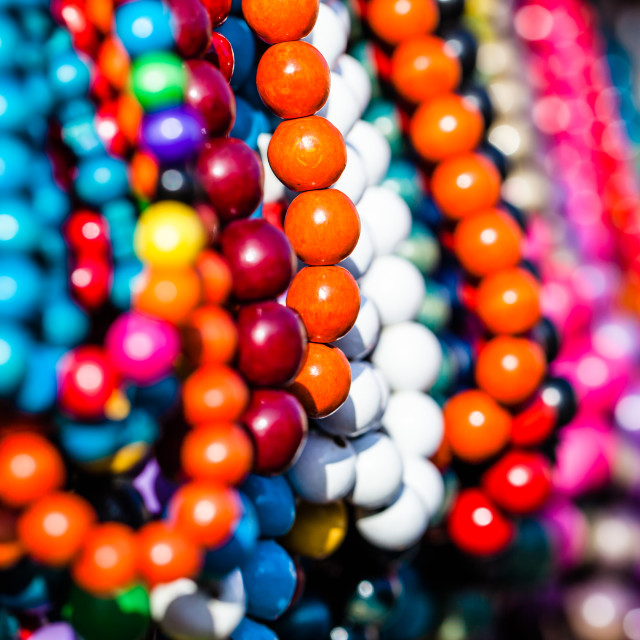 """Wooden colored beads on display on the market in Zakopane, Poland"" stock image"