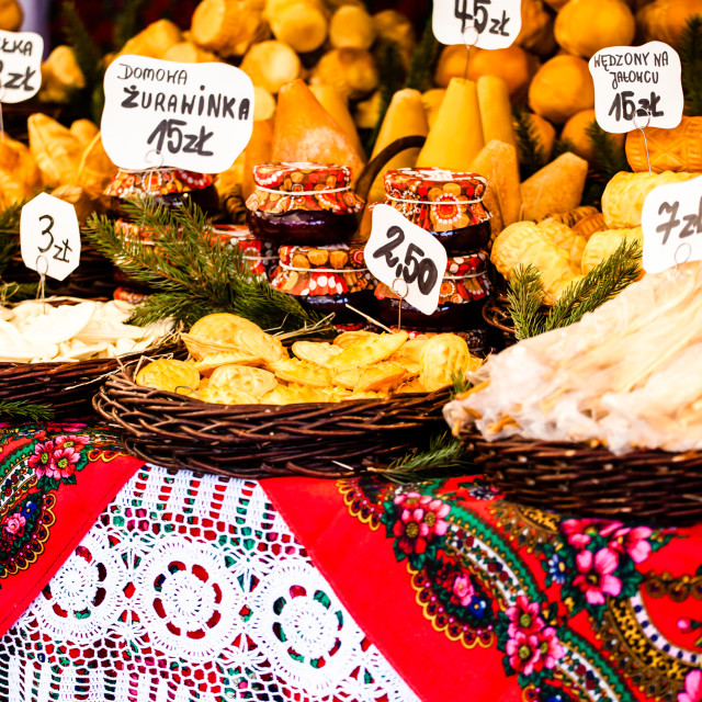"""Traditional polish smoked cheese oscypek on outdoor market in Krakow, Poland."" stock image"