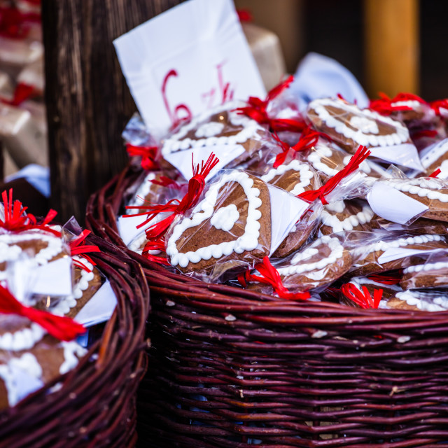 """Gingerbread hanging at the christmas market in Poland"" stock image"