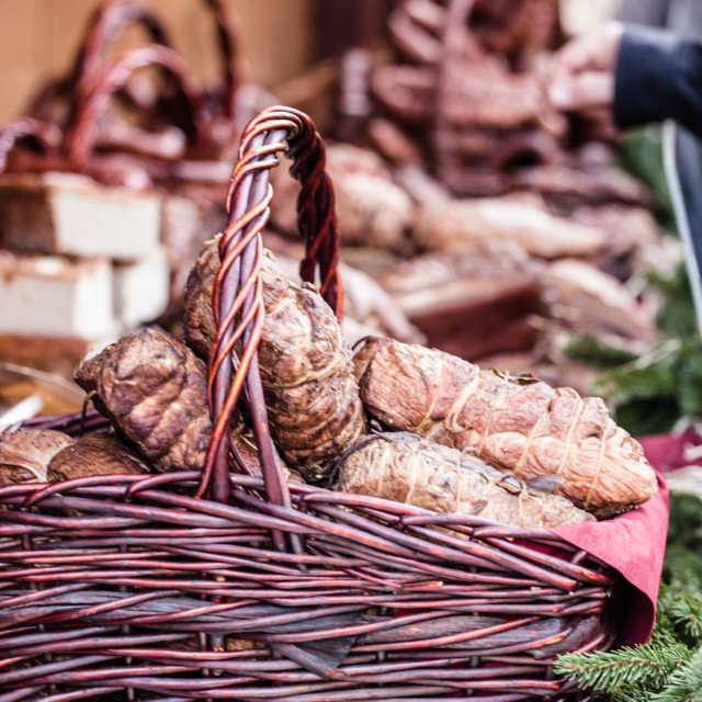 """sausages for sale on food market in Krakow, Poland, Europe"" stock image"